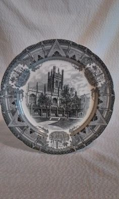 Hutchinson Court,  Mitchell Tower, 1931, Copeland, Spode, Black, Collector Plate #copelandspode #vintage #collectorplates #spodeblack #michelltower #copeland1931 #1931