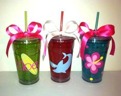 GREAT idea for the water bottles for the girls' friends for end of school year gift!   Personalized Tumbler with Freezer Gel- perfect for summer!