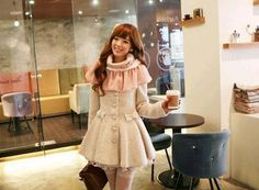 Round Neck Lace Splicing Bow Decorated Single-Breasted Coat