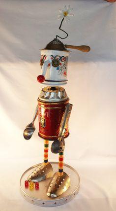 Steampunk Sculpture - Found object Robot - Junk bot - clown