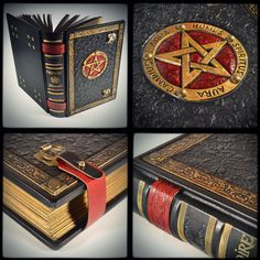 The Great Grimoire, 12 x 9 inches, leather journal, grimoire, hollow book, necronomicon, book of shadow, black leather, gift box... __________ www.alexlibris-bookart.com