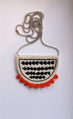 Arrow crescent long necklace embroidered pendant with red triangle beads tribal geometric summer fashion.