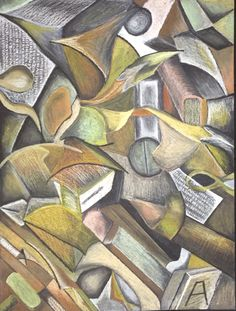 Cubist piece inspired by early analytical styles. Development of my previous literature montage. Done in oil pastel.