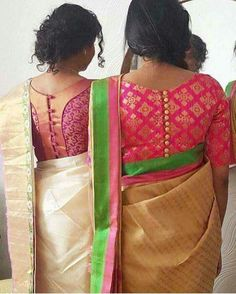 Looking for cotton saree blouse designs? Here are our picks of stylish patterns, chic front neck, & back neck designs you can try with cotton saree blouse! Blouse Back Neck Designs, Brocade Blouse Designs, Pattu Saree Blouse Designs, Simple Blouse Designs, Brocade Blouses, Stylish Blouse Design, Designer Blouse Patterns, Boat Neck Designs Blouses, Latest Blouse Designs