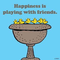 Happiness is playing with friends.