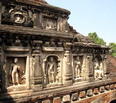 The sacred area of the Nalanda monastic complex contains massive relic stupas and image temples that were embellished with elaborate imagery as can be seen in the stucco work of this façade. #Buddhism