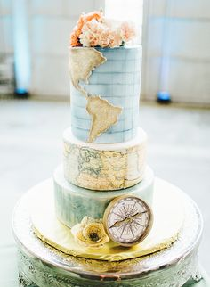 Wedding Themes 20 Travel Inspired Wedding Details for the Adventurous Couple - Inspired By This - This inspiration showcases 20 couples who incorporated travel inspired wedding details into their special day - perfect for a destination wedding! Beautiful Wedding Cakes, Beautiful Cakes, Perfect Wedding, Elegant Wedding, Map Cake, Cake Art, Travel Cake, Travel Party, Bolo Cake