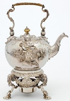 Kettle by Paul de Lamerie, 1736. This set was made for the marriage of Sir John Le Quesne to Miss Knight in April 1738. As a Huguenot, le Qu...
