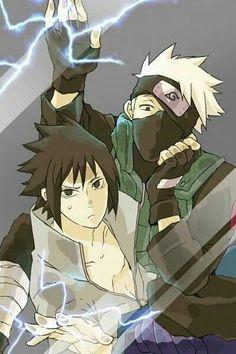 Anime Behind Glass Sasuke And Kakashi From Naruto Shippuden