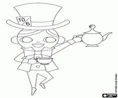 Colorear El Sombrerero Loco sirve el té con la tetera