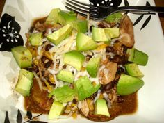 crock-pot chicken with black beans, corn, and avocado. the perfect warm healthy meal waiting for you when you get home from work!