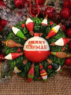 """Merry Fishmas Bobber & Fishing Lure Wreath Resin 3.5"""" Christmas Ornament JWM Collection http://www.amazon.com/dp/B00GWTS1OU/ref=cm_sw_r_pi_dp_PR9xub0KTB22K"""