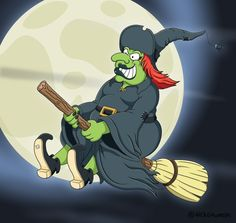 A cartoon witch riding her broomstick on Halloween!