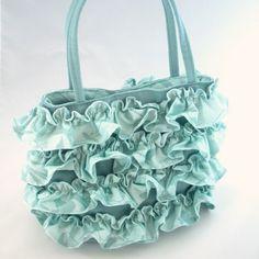 aqua ruffle bag