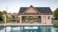 This cabana is equipped for multi-season use and features an outdoor kitchen, dining area, covered lounge area and washroom/change room. Access to the pool equipment and storage room is from the other side. Next photos are same cabana.