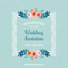 Invitación de boda de marco con flores Vector Gratis