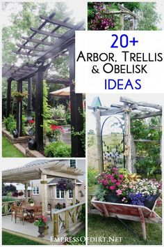 20+ Arbor, Trellis, and Obelisk Ideas to use in your garden. Whether you want a shaded sitting area, added privacy, structure to grow vines and roses, or simply some vertical interest that adds interest and whimsy, there's something for every budget.