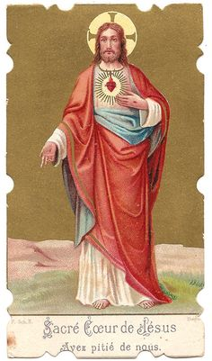 Sacred Heart of Jesus Antique French Catholic by 12StarsVintage