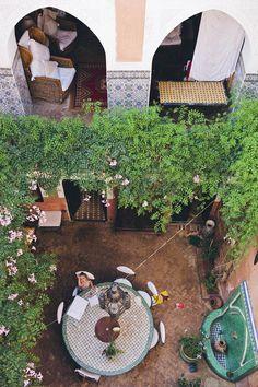 Marrakech courtyard garden or riad. Light and water.