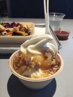 Greek frozen yogurt w/baklava & honey from Yalla