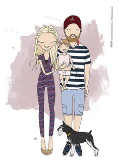 Cartoon family portrait, family portrait illustration, quirky portrait, alternative portrait