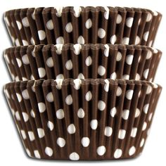 "- Brown Polka Dot Baking Cups - Happy retro baking cups in vibrant brown with white dots. - Made from a high quality medium-weight greaseproof paper. - Standard size 2"" bottom x 1-1/4"" tall - Package"