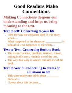 text to world connections examples