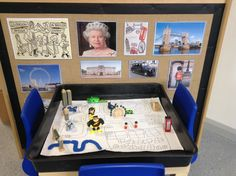London themed small talk table. The children have made a map for the base which holds a miniature London small world set. The area has also been enhanced with various London themed pictures to encourage talk.