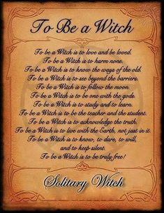 To be a witch ( solitary witch )
