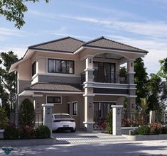 Two Story House Design, Classic House Design, Duplex House Design, Modern House Design, Modern House Floor Plans, Modern Bungalow House, Modern Houses, Philippines House Design, Mediterranean Homes Exterior