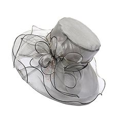 APXPF Womens Feather Mesh Net Sinamay Fascinator Hat with Hair Clip Tea Party Derby