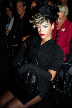 Rihanna attends Christian Dior Pret a Porter during Paris Womenswear Fashion Week