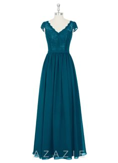 Azazie Brisa Bridesmaid Dress | Azazie Color: Ink Blue add coral sash