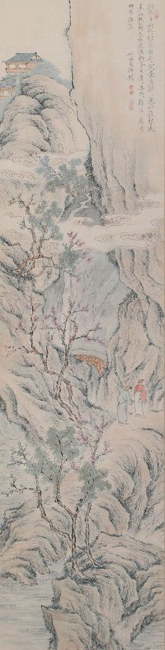 Landscape, Tanomura Chikuden (1777-1835). Japanese hanging scroll painting.