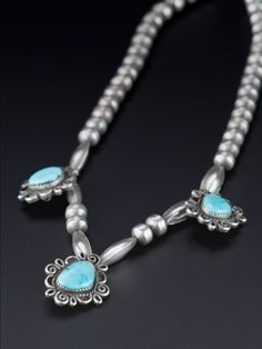 Vintage 1970's Navajo Native American Sterling Silver and Natural Turquoise Necklace   http://www.cocoandbenny.com/product/necklaces/1970s-navajo-turquoise-sterling-necklace