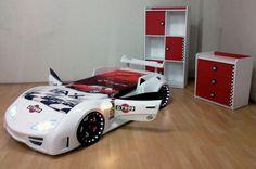 Łóżko samochód w kolorze białym