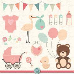 "Baby Shower Clipart "" BABY SHOWER ""clip art, birth announcement, Baby Shower Invitation, Vintage baby shower, Instant Download Bsw004"