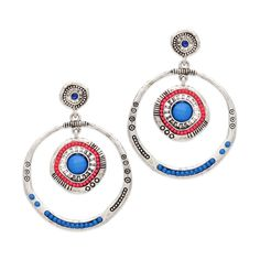 ZARIA EARRINGS We're loving the vibrant pink and blue of the Zaria earrings. Combined with the tribal accents, Zaria's design has an artisanal flair that will complement summer styles beautifully. We especially love the single touch of CZ sparkle in this drop pair.