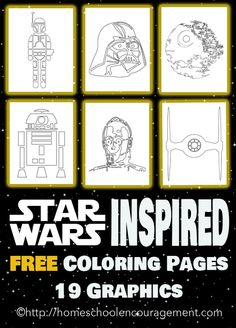 Free Star Wars Inspired Coloring Pages - 19 in all. Single Download. No Strings Attached. Enjoy! Star Wars Day -- May the 4th Be With You.