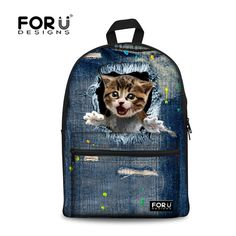 a5a24df603 3D print cute cat women canvas backpack for teenage girls zoo animal school  backpacks for student casual laptop denim bule bags