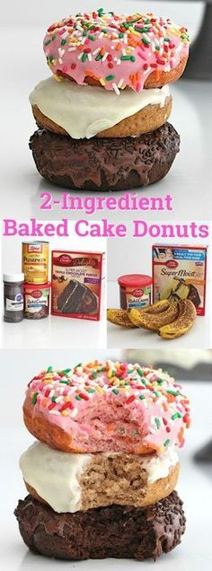 2 ingredient baked cake donuts made as a cake chocolate cake mix w bananas bak health and beauty # Baked Donut Recipes, Cake Mix Recipes, Dessert Recipes, Cake Donut Recipe Baked, Steak Recipes, Potato Recipes, Chocolate Donuts, Chocolate Cake Mixes, Churros