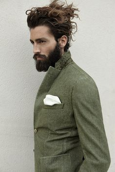 hair beard jacket green men streetstyle fashion tumblr