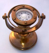 Antique Collectible Brass Nautical Ship's Gimballed Compass Marine Reproduction