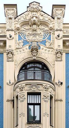 Beautiful architectural details,  Riga Jugendstil, Spain
