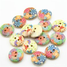 Meritina Colorful Flower Round Wooden Buttons DIY Accessories for Art Craft Sewing Scrapbooking (25pc) >>> Continue to the item at the image link.