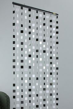 Solid Black and White Beaded Curtain Accent