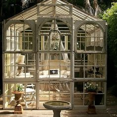 We can't stop staring at this gorgeous She Shed — it's made from a recycled greenhouse! Source: Instagram user 100things2do.ca