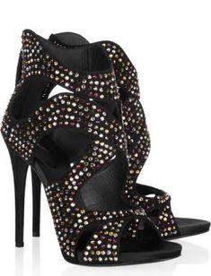 Giuseppe Zanotti Swarovski Crysal-Embellished Suede Sandals