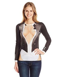 Faux Real Women's Cleavage Tux Long Sleeve T-Shirt, Black, Large