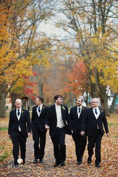 Strong groomsmen pose... great fall wedding pic!!
